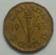 1943 CANADA  Victory TOMBAC 5 Cent Nickel Coin KING GEORGE VI