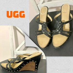 Ugg Lourdes Leather Strappy Studded Wedge Sandals Women's 9.5 Black