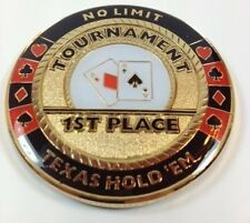 1ST Place Poker Tournament Trophy Prize Card Guard Protector Metal Coin NEW