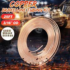 "25ft Roll Coil 3/16"" OD Copper Brake Line Tubing Kit & 16pcs Tube Nuts Fittings"