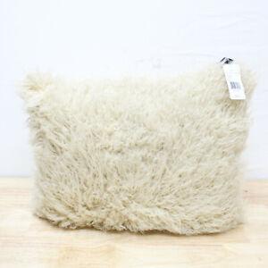 "Ralph Lauren Claredon 15"" x 20"" Modacrylic Faux Fur Decorative Pillow Sand 310"