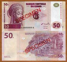 SPECIMEN, Congo D.R. 50 Francs, 2000 P-91s, UNC