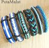 PotaMalat 6pcs Unisex Genuine Leather Bracelets Multi Wrap Hemp Surfer Braid-D48