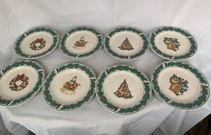 "Majesticware By Oneida Berry Holidays 8 Salad Plates 7 3/4"" NWOT"