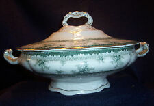 John Maddock& Sons Royal Vitreous Green Hamilton Vegetable Bowl Tureen Lid Cover