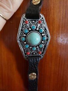 Lucky Brand Bracelet Leather Boho Hippie Tribal Jewelry Silvertone Beads