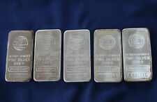Engelhard Struck Logo Silver Bar lot of 5 Ten Troy Ounce .999 fine Bars E3375