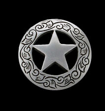 "Western Equestrian Cowboy Tack Set of 6 3/4"" Silver Star Engraved Conchos"