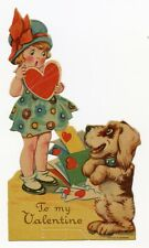 Antique 1920's Valentine Card | Little Girl and Dog Receiving Mail