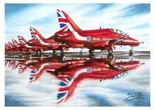 RAF Red Arrows (A3 Print) Coloured Pencil Drawing