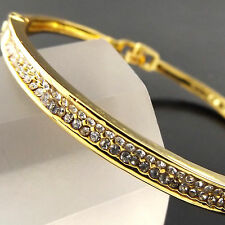 BANGLE HINGED CUFF BRACELET 18K YELLOW G/F GOLD DIAMOND SIMULATED DESIGN FS3A520