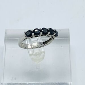 925 Sterling Silver Ring Size 6.75 Black Spinel Single Row Band