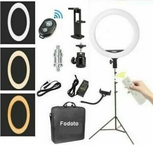 """Fodoto 18"""" LED BiColor Dimmable Ring Light Kit 7' Stand - Battery / AC Powered"""