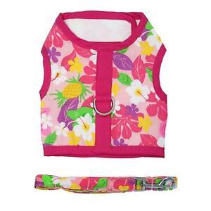 DOGGIE DESIGN Fabric Dog Harness with Leash - Pink Hawaiian Floral XS-L