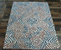 "4'8""x6'7"" New Geometric Modern Hand knotted wool Moroccan Oriental rug carpet"