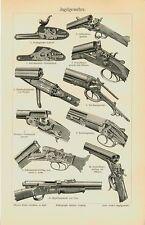 Chasse armes fusils Château Teschner DREYSE Wild Tableau original de 100 ans