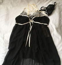 Linea Donatella Short Chemise Black Size S Small With Matching Thong