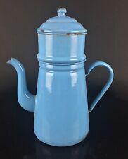 Cafetière ancienne et grande émaillée bleue ciel / turquoise -  Kokums suède