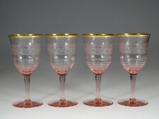 Set of 4 Depression Glass Pink Needle Point Etched Wine Goblets Gold Trim c.1930