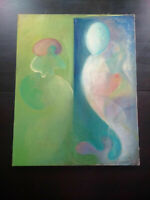 Veronica BENNING american painter oil on canvas Abstract characters signed