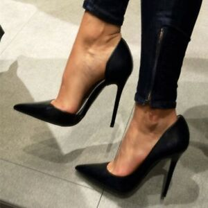 Womens Black Pointy Toe Prom Party High Heel Satin Classic Pumps Shoes Stilettos
