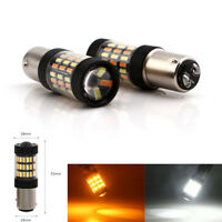 2 Pcs 1157 BAY15D 4014 Led Dual Color Switchback Light for Car Turn Signal Lamp