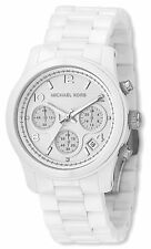 Michael Kors Women's Chronograph Runway White Ceramic Bracelet Watch MK5161 New