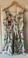 JOE BROWNS WHITE HUMMINGBIRD FLORAL VINTAGE LOOK DRESS UK 12 NEW