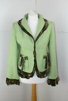 Coronets And Queens vintage 60s style tweed wool velvet trim Jacket UK 12 US 8