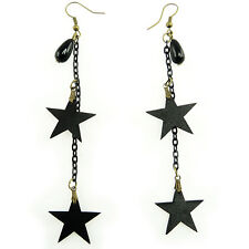 Boucles d'oreilles gothique rock soirée imitation cuir étoiles noires chaînettes
