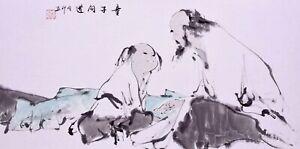100% HANDPAINTED ORIENTAL ASIA ART CHINESE FIGURE WATERCOLOR PAINTING-Gaoshi&Boy