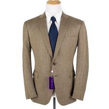NWT $1895 Ralph Lauren Purple Label Brown Wool Silk Basketweave 2Btn Jacket 44R