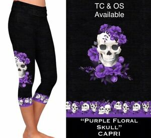 New Purple Floral Skull Capri Leggings 2 Sizes Available