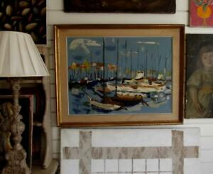 1961 Large Indistinctly Signed FRENCH MODERNIST Oil Painting YACHTS AT CANNES