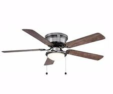 LED Flush Mount Ceiling Fan Sleek Low Profile Hugger Dome Light Modern Indoor
