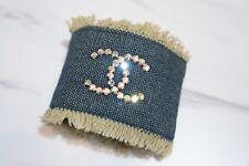 VINTAGE CHANEL Denim Bracelet with CC Logo Aurore Crystals A343