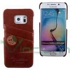 Custodia POCKET marrone per Samsung Galaxy S6 Edge G925F tasche porta schede