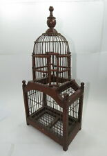 "Bird Cage Vintage Wood Wire Painted Spring Door 18.5"" tall"