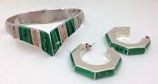 Hoop Earrings Set 950 Sterling Silver Modern Taxco Tn-42 Malachite Cuff Bangle