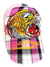 Women's Ed Hardy pink plaid bling snapback hat vintage tattoo cotton embroidered