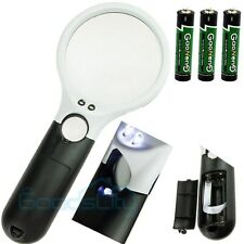 3 LED Light 45X Hand-held Magnifier Reading Magnifying Glass Lens Jewelry Loupe