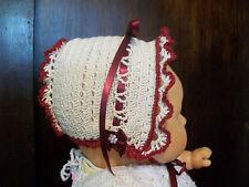 Baby Girls Bonnet Hand Crochet Light Beige & Maroon Size 2M to 6 Months