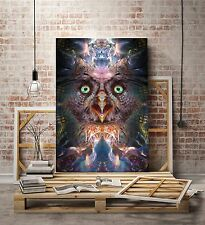 Complete Awareness - Owl Visionary Art (Psychedelic, Fractal, Ayahuasca) LIMITED
