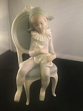 Vintage Lladro Young Harlequin Boy On Chair With Cat Bisque Matte