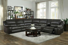 NEW Modern Sofa Sectional Brown Faux Leather Power Reclining Living Room Set F6I