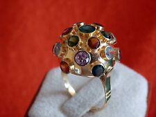Estate Piece 18K Solid Yellow Gold Multi-Color Sputnik Satelite Gemstone Ring