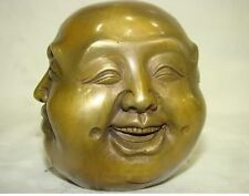 LUCKY tibetan brass four face seal buddha head statue