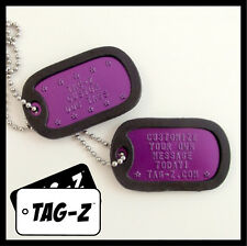 2 Military Dog Tags - Custom Embossed PURPLE -GI Identification w/ Silencers