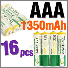 16 pcs AAA Size 3A LR03 R03 1350mAh 1.2V Ni-MH Rechargeable Battery Cell/RC BTY