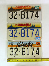 RARE Lot of 3 Nebraska Matching #'d 32-B174 Different License Plates 1993 96 99